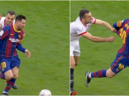 Intentó frenar a Messi y se ganó las burlas de las redes sociales