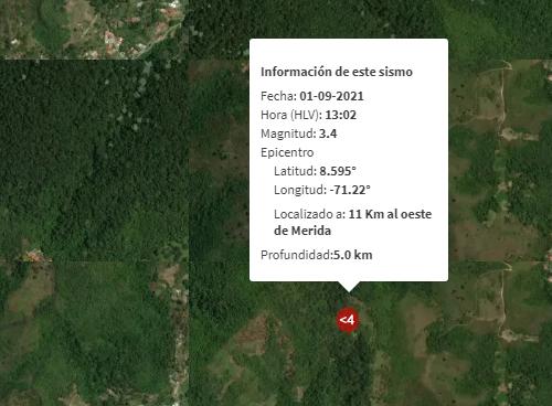 Reportan sismo de magnitud 3.4 en el estado Mérida